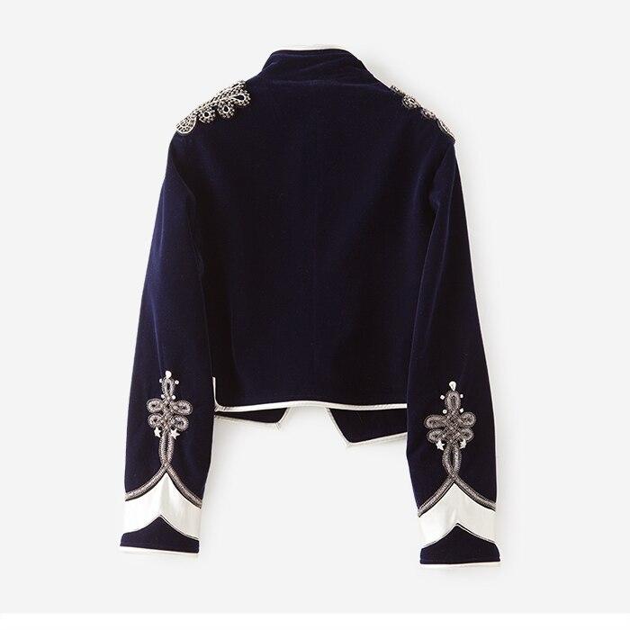 Vintage 2017 Bleu Automne Manteau Perlage Outwear Haute De Revers Manche Dames Boutonnage Broderie À Femmes Marine Double Veste Longue Qualité 0qw0E