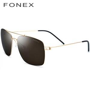 Image 3 - Поляризованные солнцезащитные очки из титанового сплава, мужские ультралегкие зеркальные солнцезащитные очки большого размера, квадратные очки для мужчин, 98622, 2019