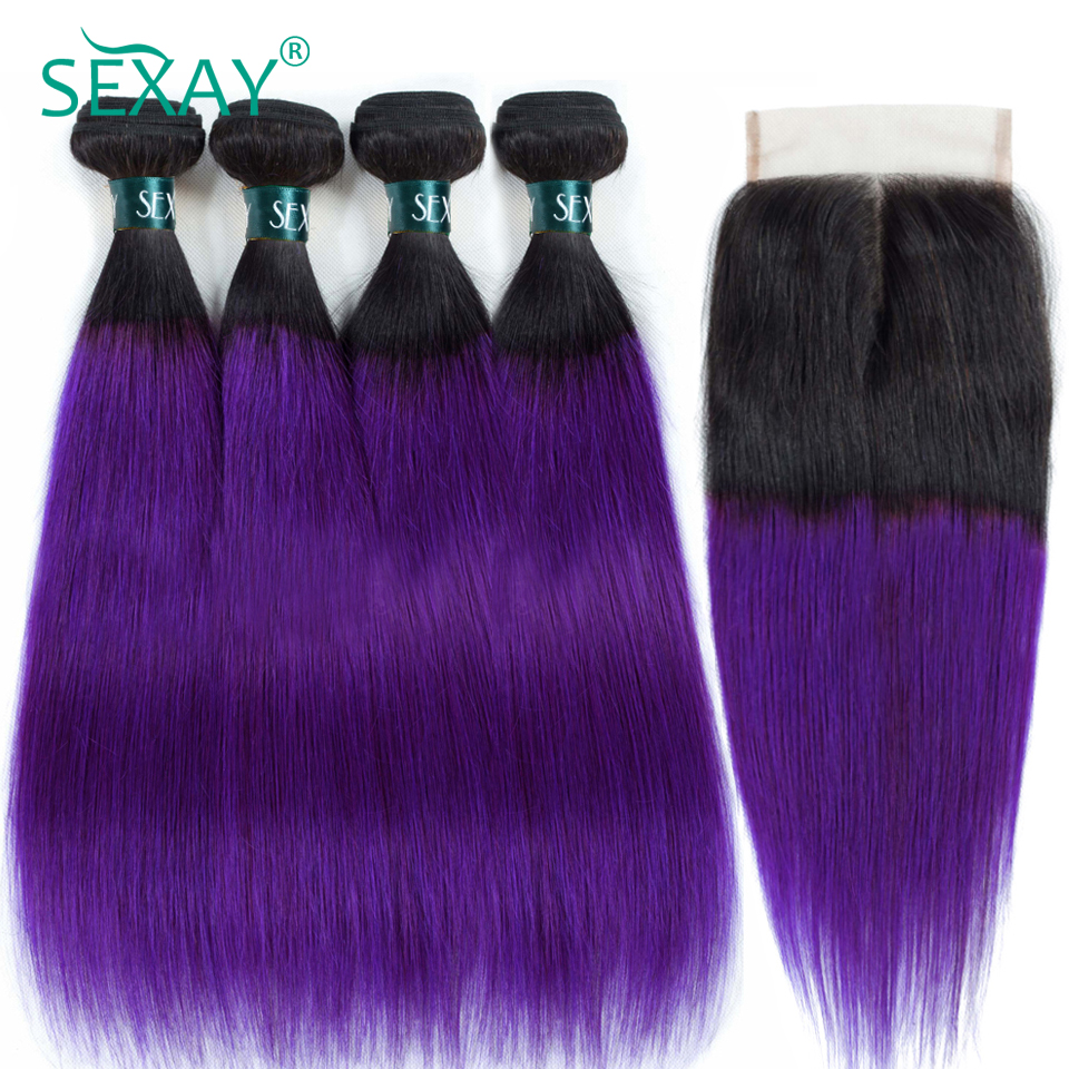 SEXAY 1B/Purple Ombre Hair 4 Bundles With Closure Dark Roots Ombre Brazilian Hair Straight Pre-Colored Human Hair Weave Non Remy