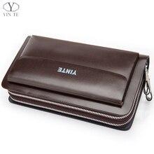 YINTE 2016 Fashion Men's Clutch Wallets Leather Men Zipper Wallets Business Brown Hand Bags Passport Purse Men Portfolio T022-2