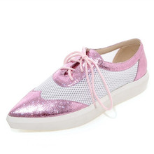 Loafer Shoes For Women 2016 Casual Sapato Feminino pu Leather Platform Flats pointed Toe lace up Flat Shoes driving Comfortable