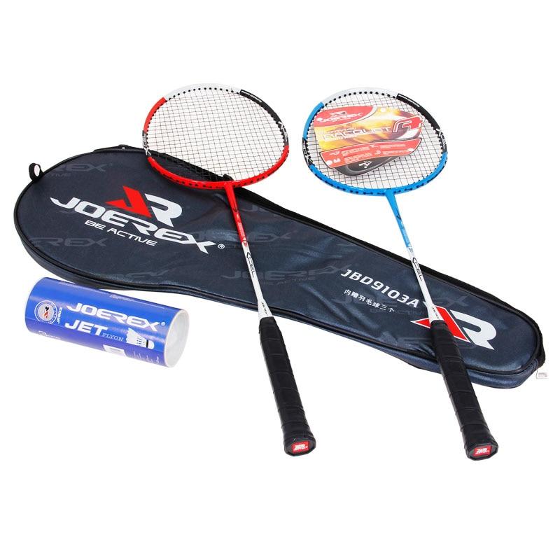 2pcs Joerex Badminton Racquet Set Alumnium-Carbon Jointless Blue and Red Color Badminton Racket  with Shuttlecock for Amateur