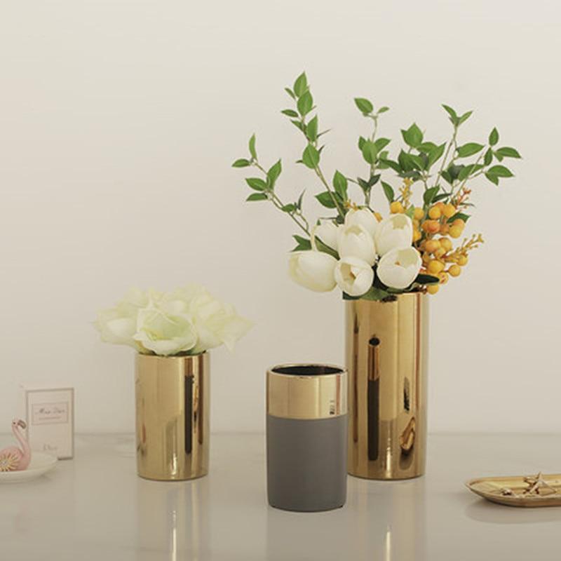 gold vase living room flower arrangement metal plating flower (9)