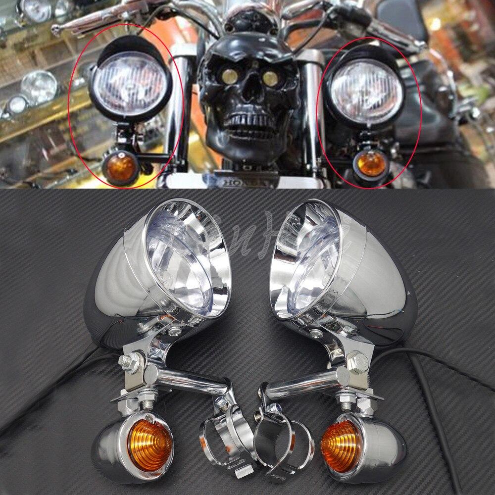 Motorcycle Chrome Turn Signal Driving Passing Spot Fog lights Bar For Touring Chopper Custom harley davidson headlight price