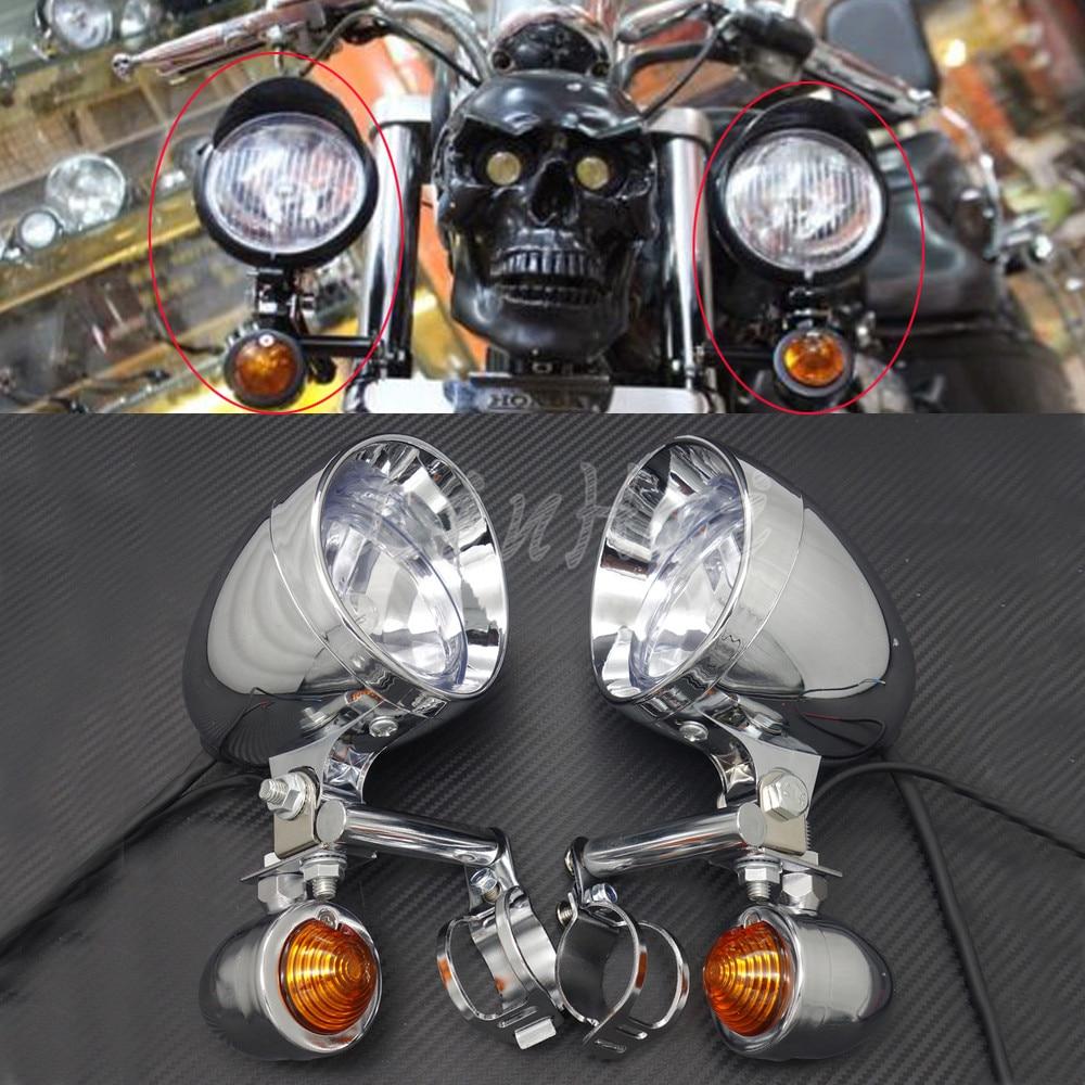 Chrome Passing Lamp Light Bar Mount Harley 2002-2017 Softail Fatboy /& Heritage
