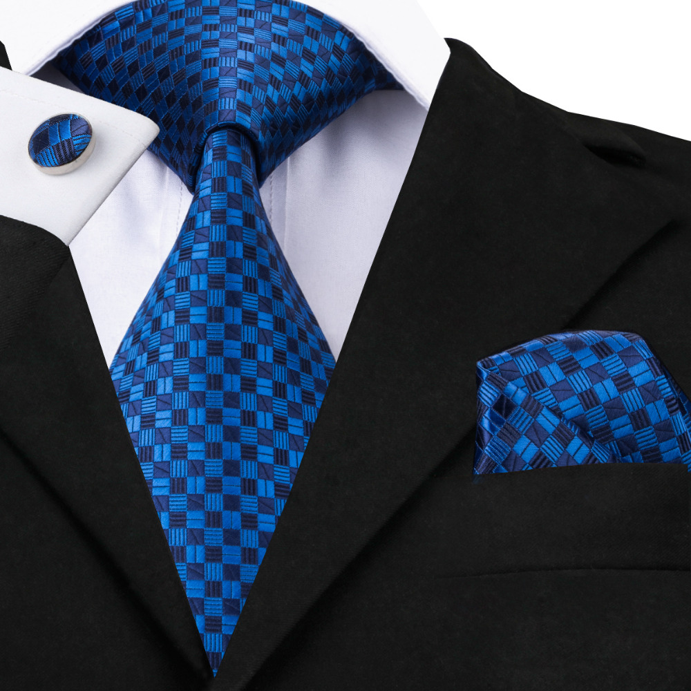2019 New Bright Blue And Deep Blue Plaid Tie White Plaid Tie For Wedding Business Tie Hanky Cufflinks Set C-561
