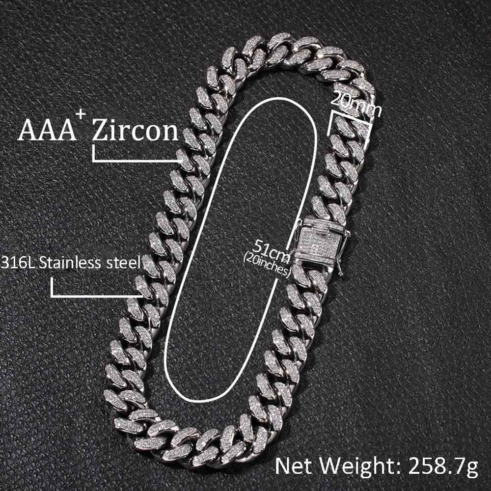 20mm Big Wide Stainless Steel Hip Hop AAA Cubic Zirconia Bling Iced Out Round Cuban Chain Chokers Necklaces Men Rapper Jewelry