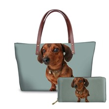 NOISYDESIGNS Dachshund Dog 3D Printing Women Handbags Large Size Shoulder Bag for Female Fashion Purse Handbag Messenger Bags
