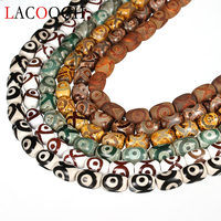 20pcs/lot Fashion Tibet Created Beads Eye Pattern Loose Spacer Charm Beads 13*18mm 6 Color For DIY Bracelet Necklace Findings