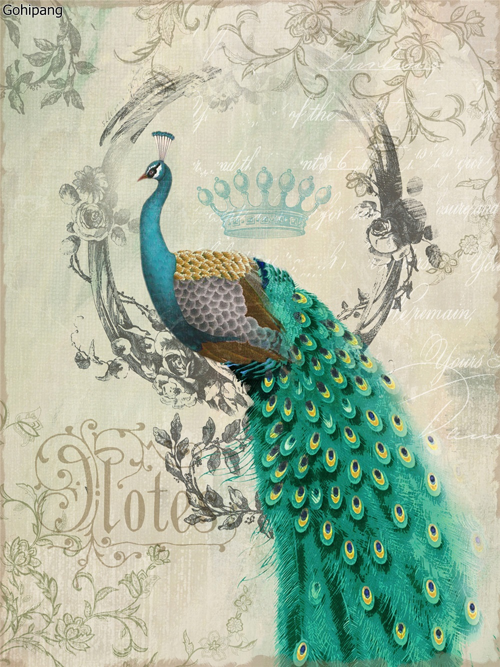 Canvas Painting Peacock No Frame Animal Cartoon Beautiful