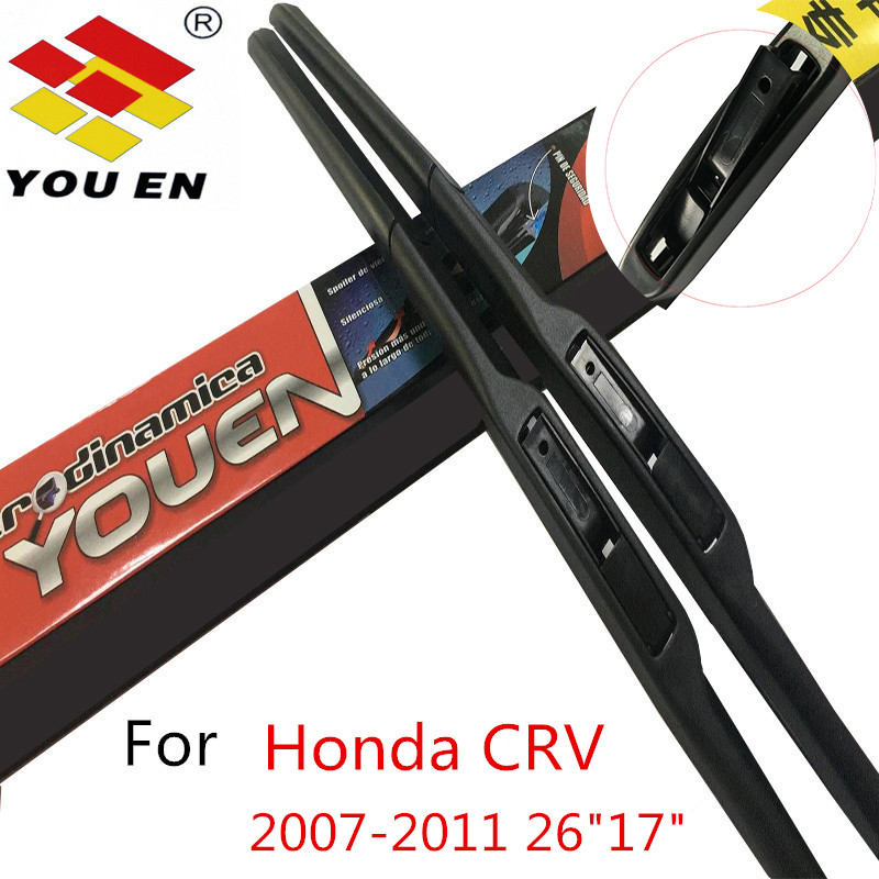 YOUEN Wiper Blades For Honda CR-V CRV 2007 2008 2010 2011 Nature Rubber Auto Car Windshield Windscreen Accessories Car Styling sumks wiper blades for honda insight 26