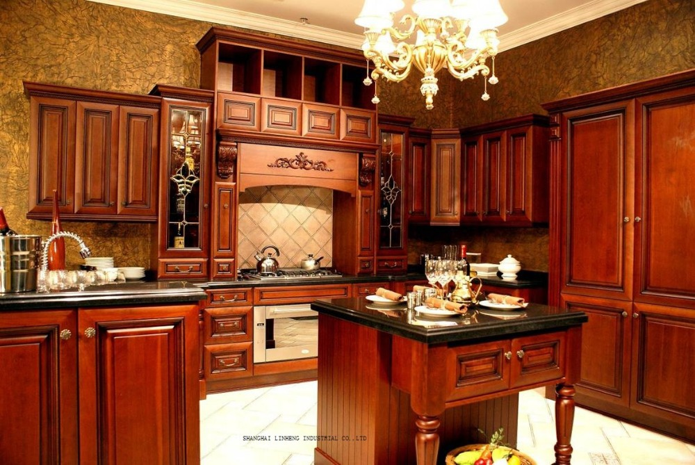 Solid Wood Modular Kitchen Cabinets(LH SW086)