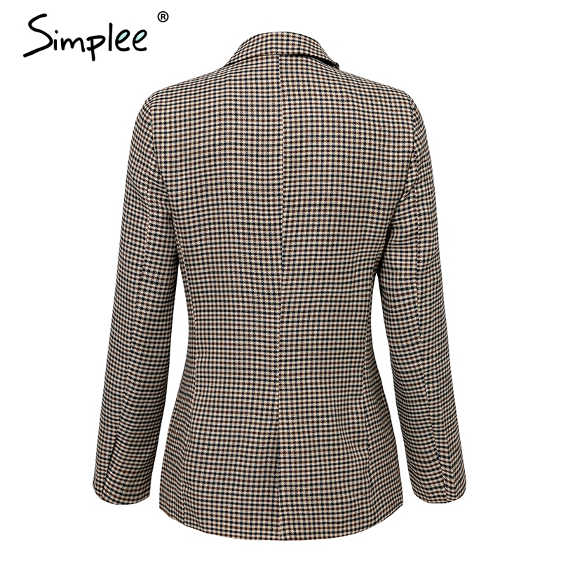 Simplee Fashion double breasted plaid blazer Female long sleeve office ladies blazer 18 Autumn jacket women outerwear coats 14