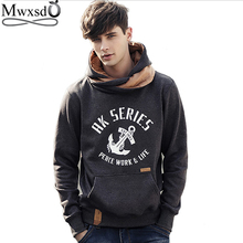 Mwxsd brand autumn men's casual printed hoodies USA style high collar fleece collar Sweatshirts Jackt brand clothing(China)