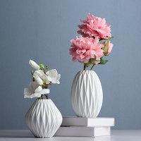 Europe Brief Matt white Diamond Porcelain Vase Modern Fashion Ceramic Flower Vase Study Room Home Wedding Decoration wholesale