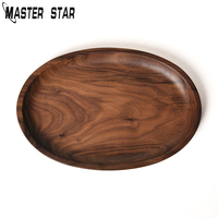 Master Star Whole Wood Black Walnut With Lrregular Oval Wood Pan Plate Fruit Plate Saucer Tea Tray Dessert Plate