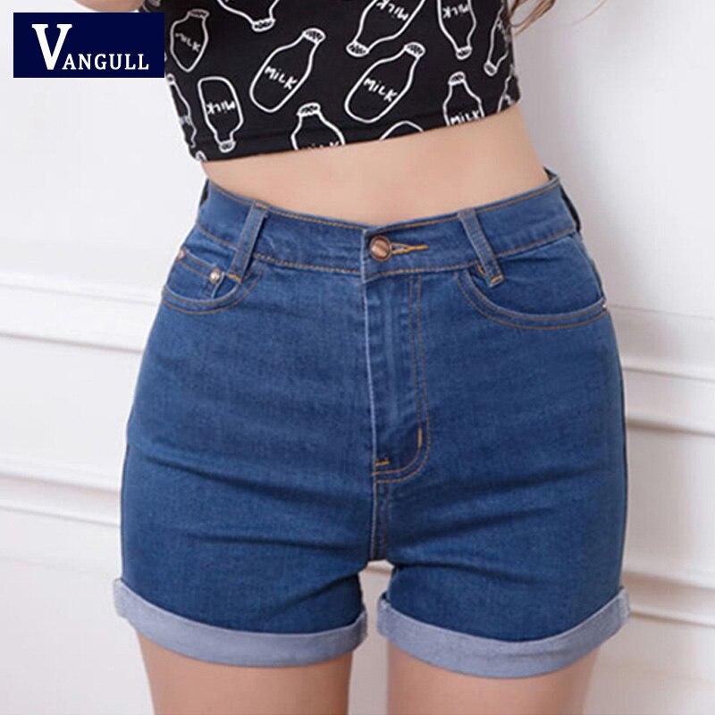 Casual 2016 New Korean Style Summer Vintage High Waisted Denim Women Shorts Plus Size Slim Stretch