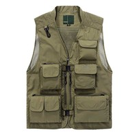 Summer Spring Men Casual Mesh Vest Hollow Out Waistcoat with Multi Pocket Loose OUTWEAR Quick Dry Vest Plus Size 4XL