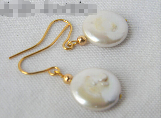FREE shipping> 14mm White Coin Freshwater Pearl Dangle Earring