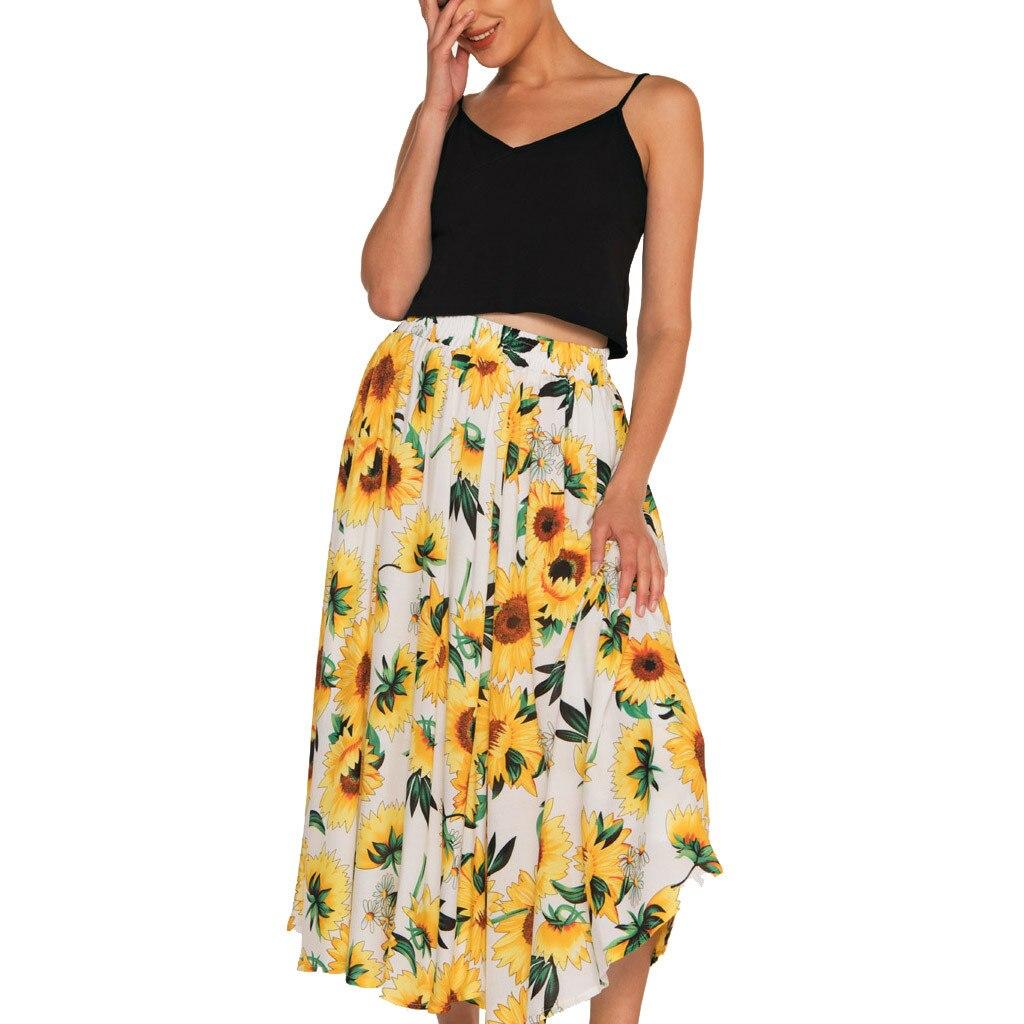 Fashion Women Summer Lady Bohemian Printed Cotton Flexible High Waist A-Shaped Beach Empire Ankle-Length A-Line Skirt 50