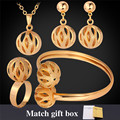 Hollow Out Ball Pendant Necklace Bracelet Earrings Ring Wedding Set Gold Plated Jewelry Sets For Women PEHR872