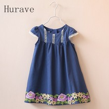 Hurave 2017 Girl Dress Cute Floral Baby Embroidered Cotton loose short sleeved children dress clothing Flower