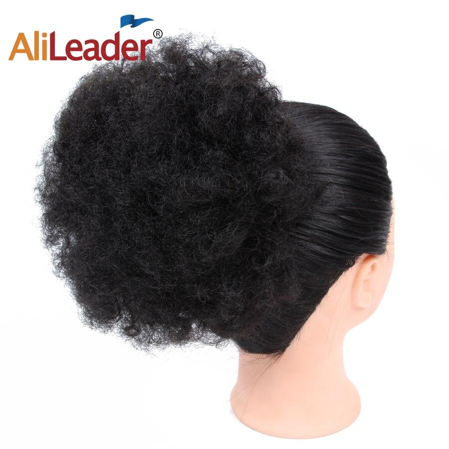 Alileader Chignon Cheveux Accessoires Synthétique Bouclés queue de Cheval de Cheveux Afro-Américain À Court Afro Wrap Cordon Puff Pour Femmes