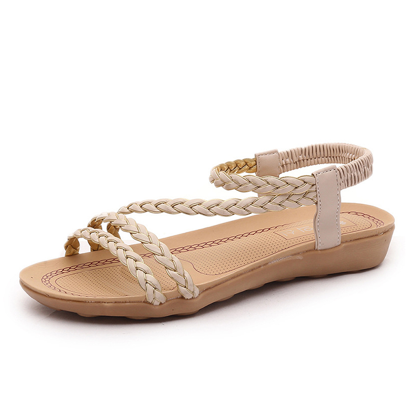Women Sandals Soft Bottom Summer Shoes Beach Sandals Flats Elastic Sandals Shoes Women Sandalias Mujer Black Beige instantarts women flats emoji face smile pattern summer air mesh beach flat shoes for youth girls mujer casual light sneakers