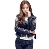 2017 Spring New Collection Women PU Leather Jacket Skull Printed Jacket Coat With Skeleton Biker Jacket