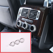 3 Pcs For Land Rover Range Rover Vogue L405 2014-2017 Rear Air Conditioning Knob Audio Circle Trim Aluminum Car Accessory 3pcs rear air condition knob trim for range rover sport for range rover vogue 2014 2017 accessories car styling