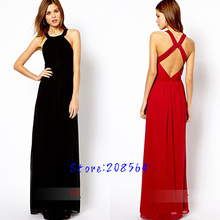 New Arrival Bohemia Long Dress Women Backless Chiffon Summer Sundress Maxi Black Red 0031