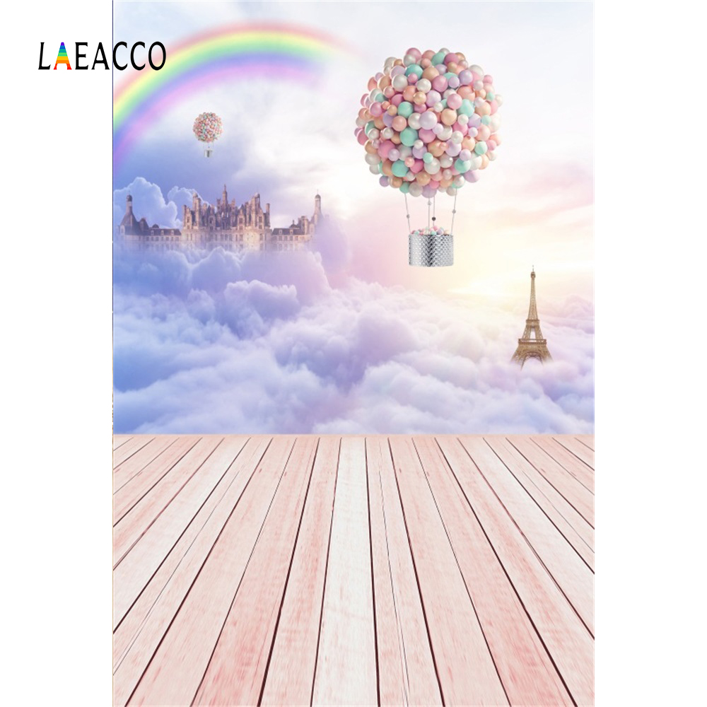 Laeacco Fairytale Clouds Castle Balloons Wooden Photo Background Photography Backdrops Photographic Backgrounds For Photo Studio