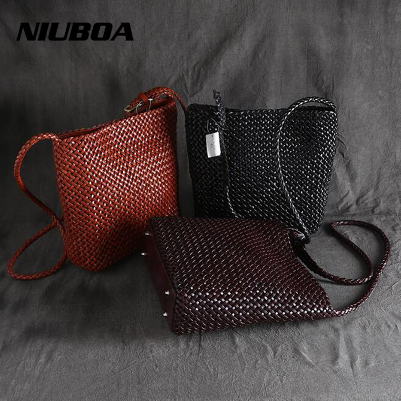 NIUBOA Women Leather Messenger Bags a Main Cowhide Shoulder Bags Top Quality Manual Woven Female Crossbody Bag Ladies Designer niuboa bag female women s 100