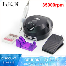 LKE Electric Nail Drill Manicure Machine 35000-20000RPM Nail Pedicure Machine Nail Drill Bits Set Equipment Strong Manicure Tool недорого