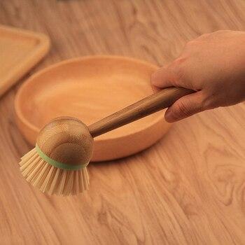 New Bamboo Dish Brush Multifunction Kitchen Cleaning Tools Dish Brush with Bamboo Handle All-Purpose Scrub Dishwasher 3