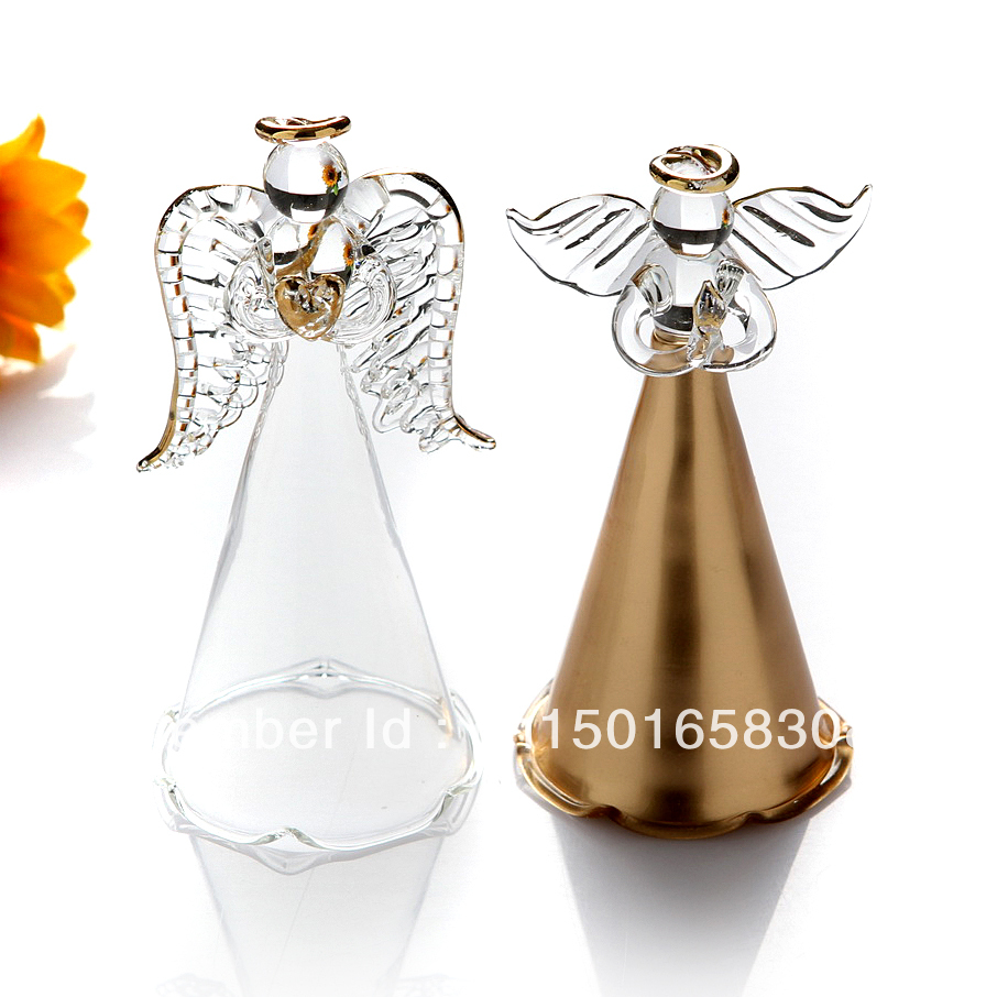 Handblown Glass Angel Christmas Tree Pendants Clear Gold