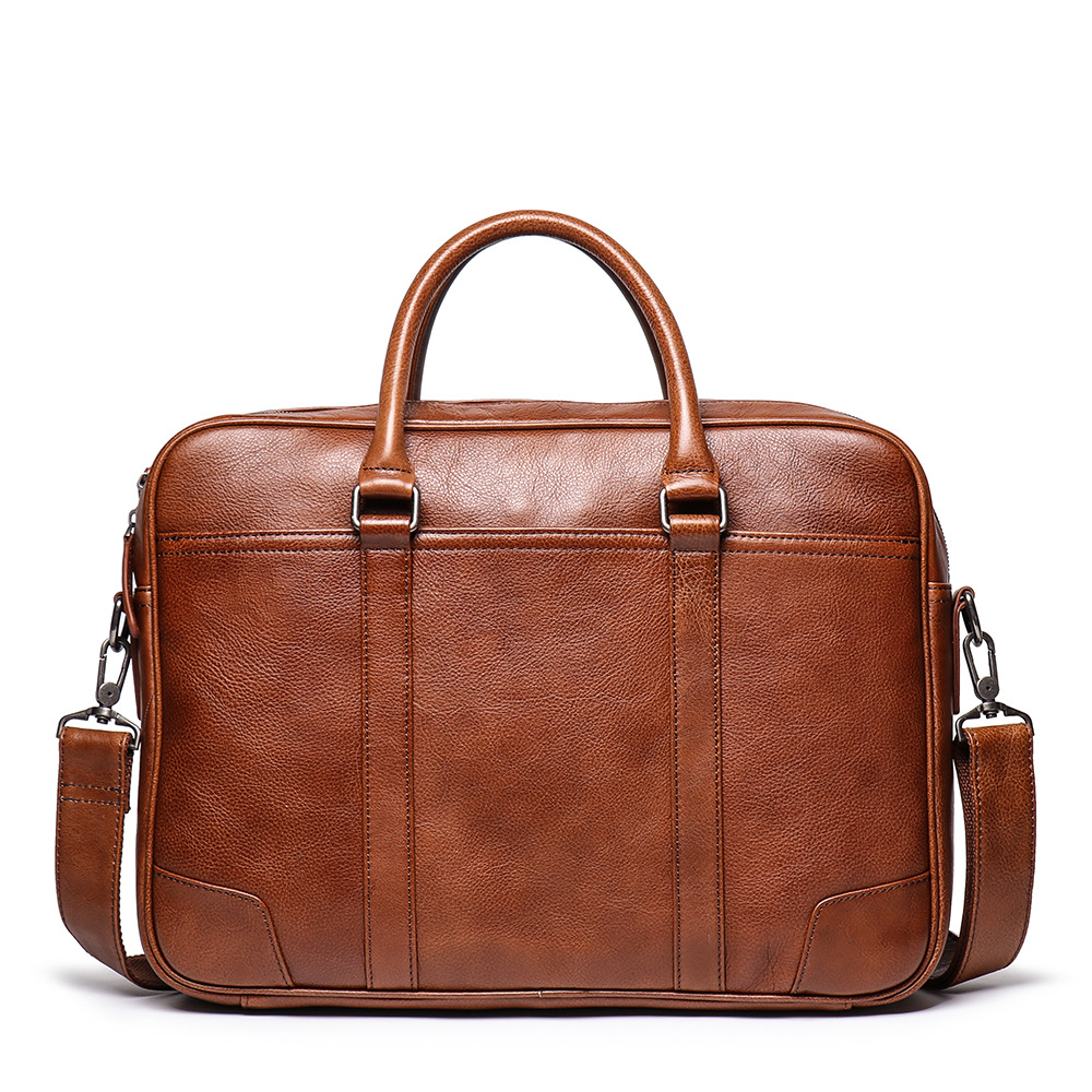 Genuine leather Men Briefcase 16 quot Big Capacity Business Laptop Bag Vintage Crazy Horse Leather Work tote Handbag shoulder bag in Top Handle Bags from Luggage amp Bags