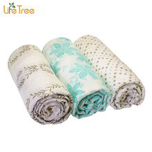 LifeTree 3Pcs Set Bamboo Muslin Cotton Baby Swaddles Blankets Multi-use Newborn Infant Bath Towel Super Soft Hold Wraps