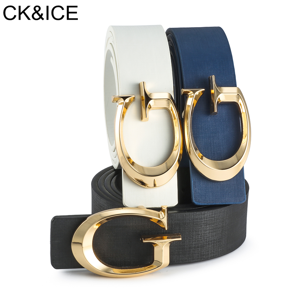CK&ICE Brand New High Quality G Belts Women's Belt Smooth Buckle Gold Metal Letter G Designer Waist Strap Jeans For Men Women