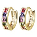10pcs/lot  Delicate Design  Gold Plated Colorful Square White Color Cubic Zirconia Women Hoop Earrings Nickel Free Jewelry