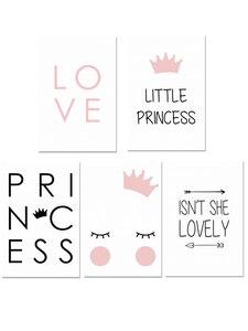 Image 5 - נסיכה קטנה משתלת קיר אמנות בד ציור נורדי פוסטר לילדים חדר Cuadros קיר תמונות קישוט ממוסגר