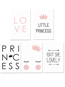 Image 5 - Little Princess Nursery Wall Art Canvas Painting Nordic Poster For Children Room Cuadros Wall Pictures Decoration Unframed