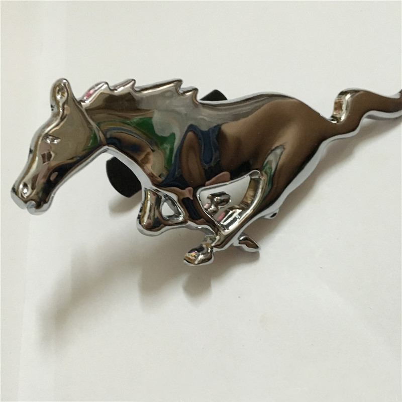 Zinc Alloy Silver Running Horse Front Grille Emblem Badge Decal For Ford Mustang