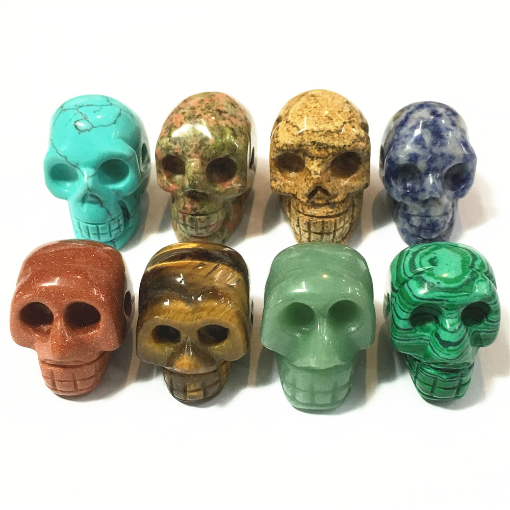 New 2018 Natural Stone Skull Pendants Necklace For Jewelry Making Charm Skeleton Pendant For Men 6Pcs Free Shipping Wholesale