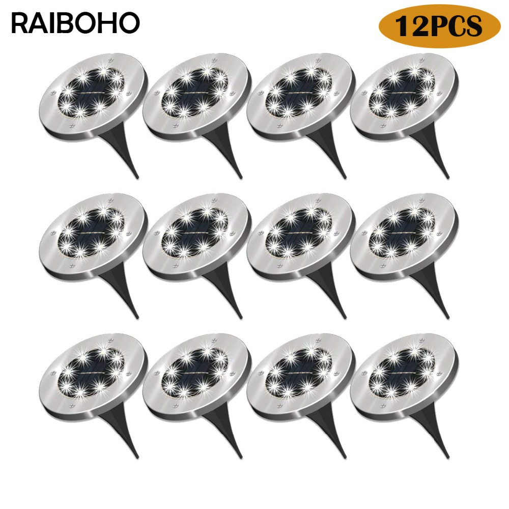 RAIBOHO 12Pack 8 LED Solar Power Buried Light Ground Outdoor Path Way Garden Decking