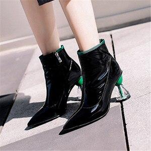 Image 4 - Fedonas nova moda feminina sapatos outono inverno tornozelo botas de couro genuíno botas chelsea apontou toe saltos altos sapatos de festa mulher