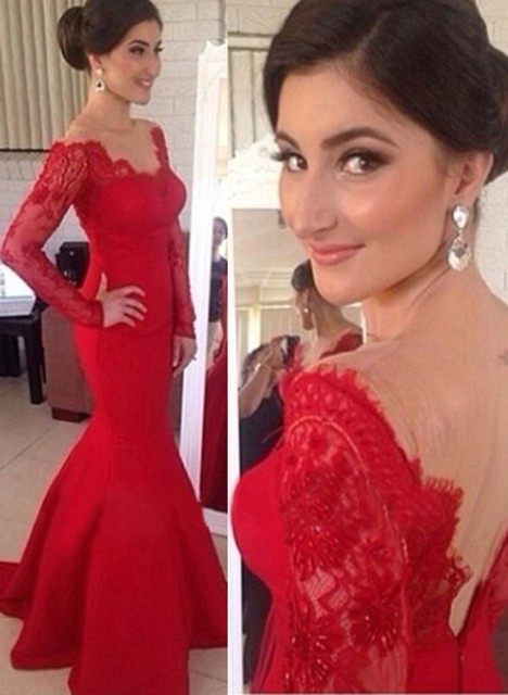 39ee3aab4b E3005 Elegant off the shoulder low back floor length red lace long sleeve  mermaid prom dresses
