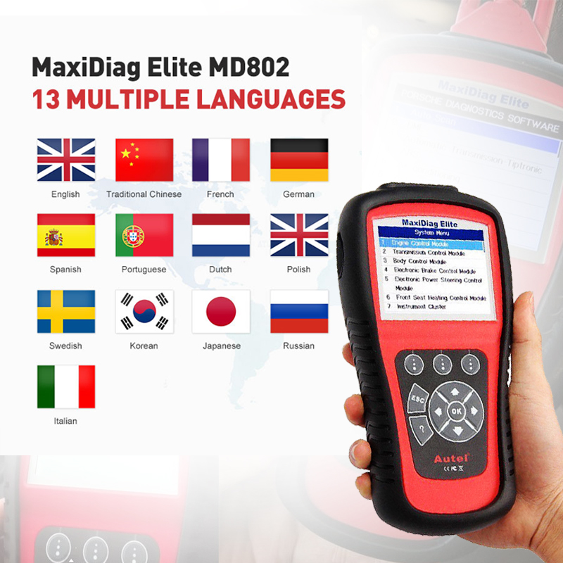 Image 5 - AUTEL MaxiDiag 802 Elite MD802 PK MD805 Diaglink Diagnostic Tool OBDII code reader scanner OBD 2  Full system automotive scanner
