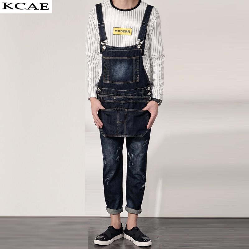 New Men's fashion pocket denim overalls Boy's casual jumpsuits Harem jeans for man Plus Size 2016 new men s casual pocket blue denim overalls slim jumpsuits pants ripped jeans for man plus size 28 34