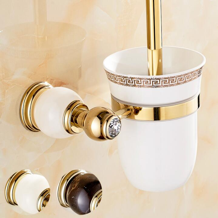 Luxury Golden plated finish toilet brush holder with Ceramic cup/ household products bath decoration bathroom accessories